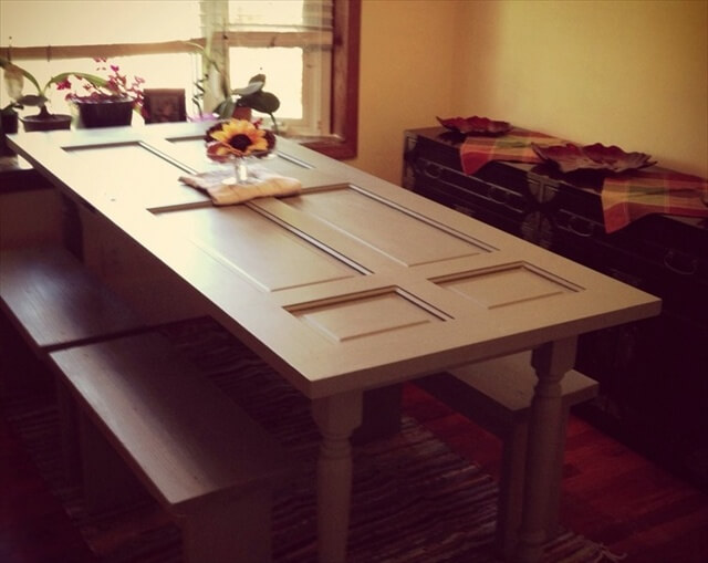 How To Make A Dining Table Out Of Old Door Diy Crafts