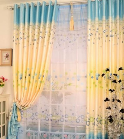 multi colored curtains