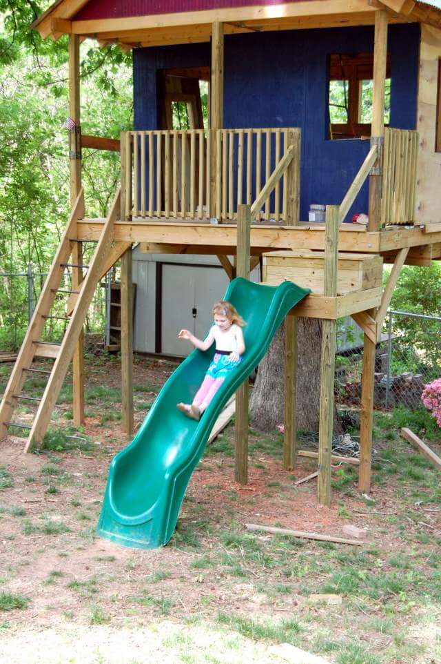 DIY Tree house for kids with slide