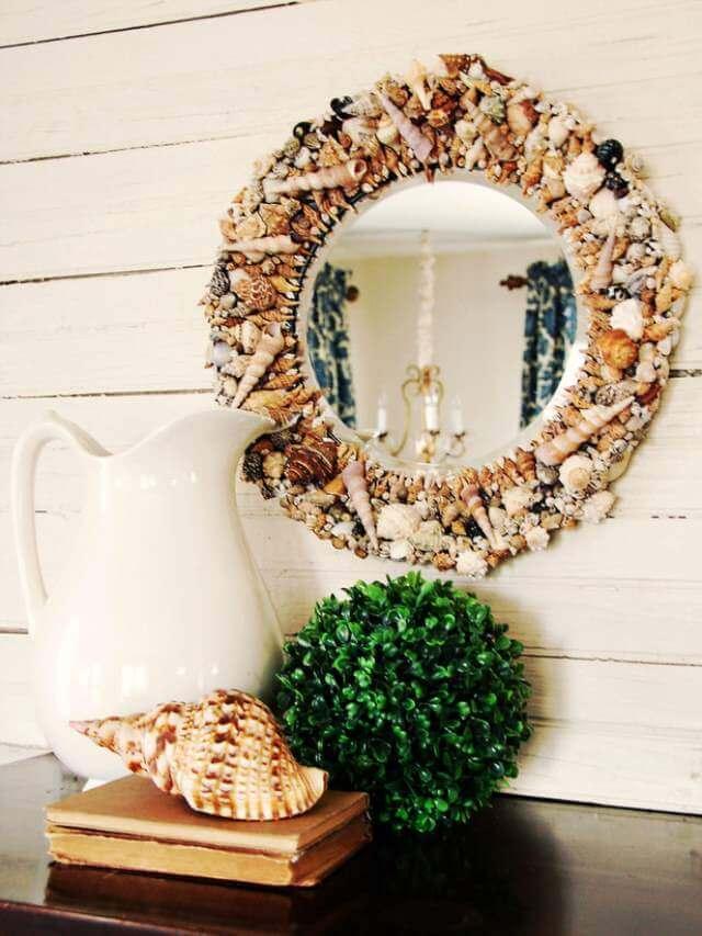 sea shell adorned mirror craft idea