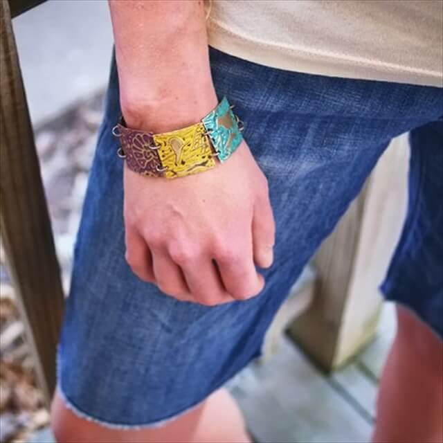 DIY embossed metal squares bracelet