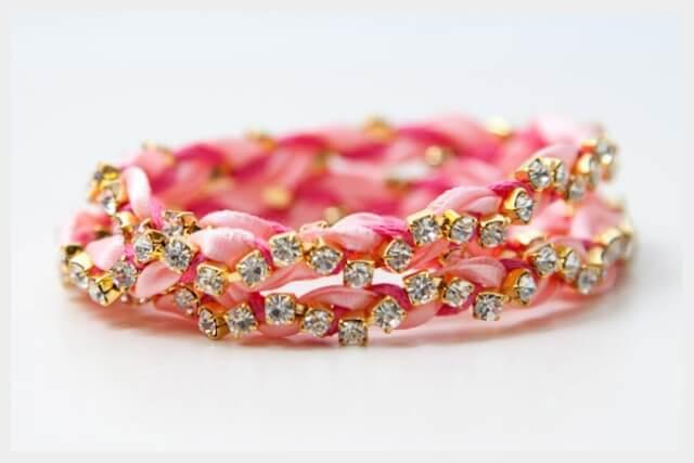 DIY Rhinestone Braided Bracelet