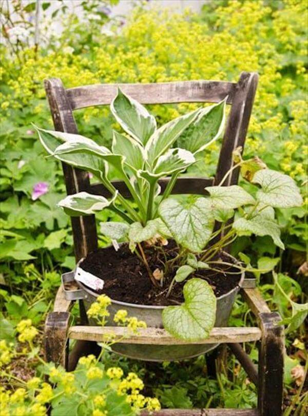 diy chair pot garden project