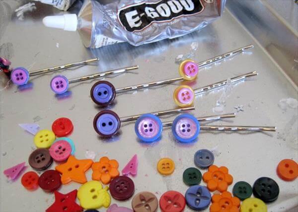 diy button hairpins