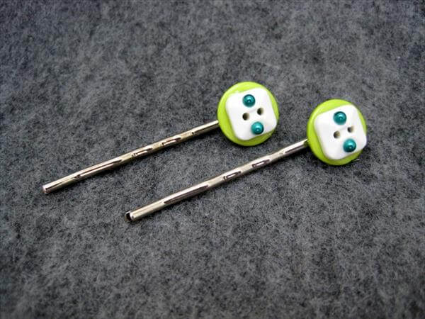 handmade button hair pins