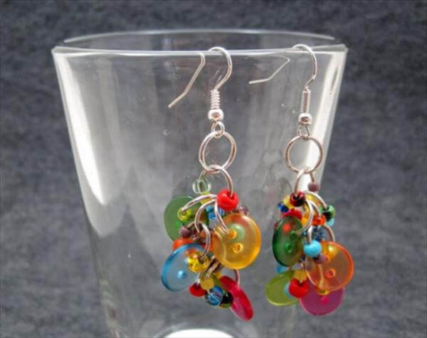 upcycled button earrings