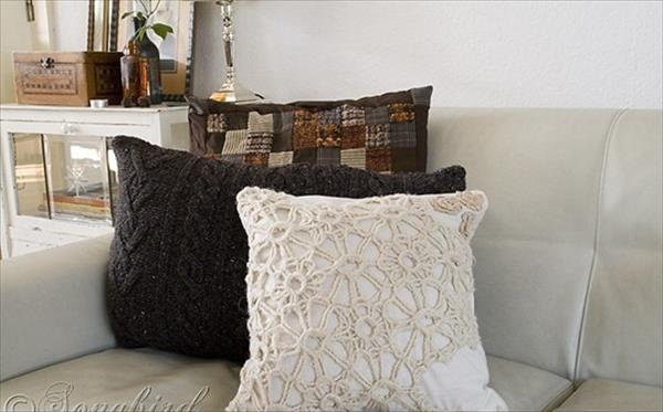 reclaimed sweater pillows
