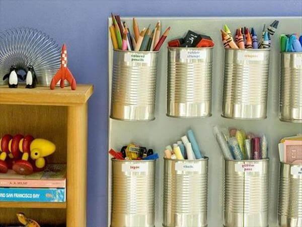 tin can stationery storage