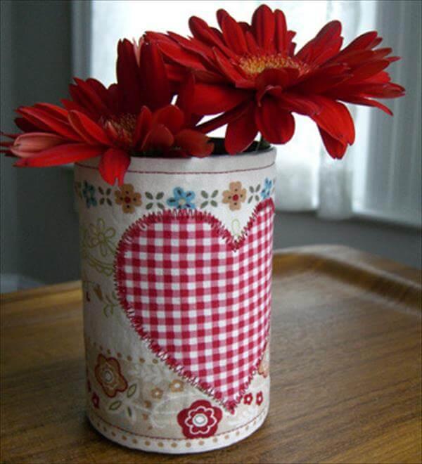 handmade tin can heart flower vase