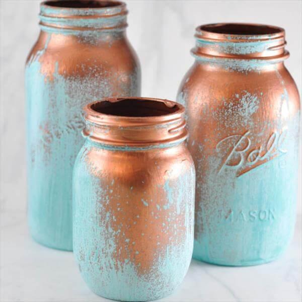 diy blue patine mason jar centerpieces