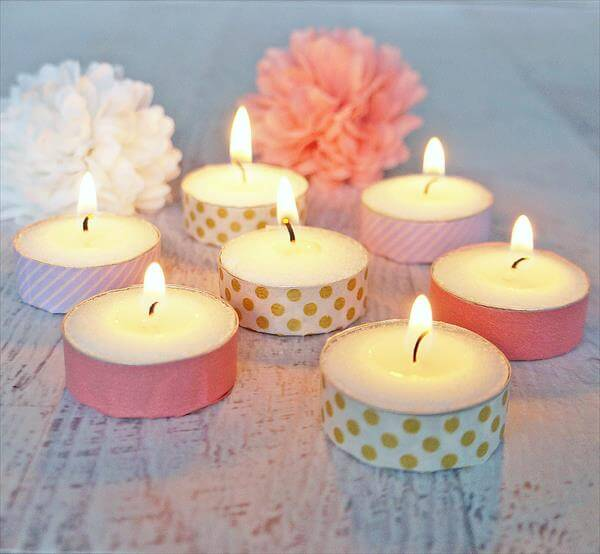 washi tape candle votives