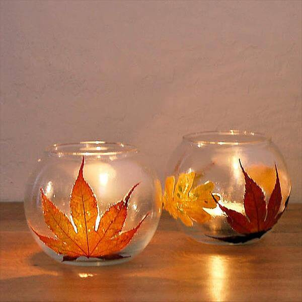 diy leaf candle holders