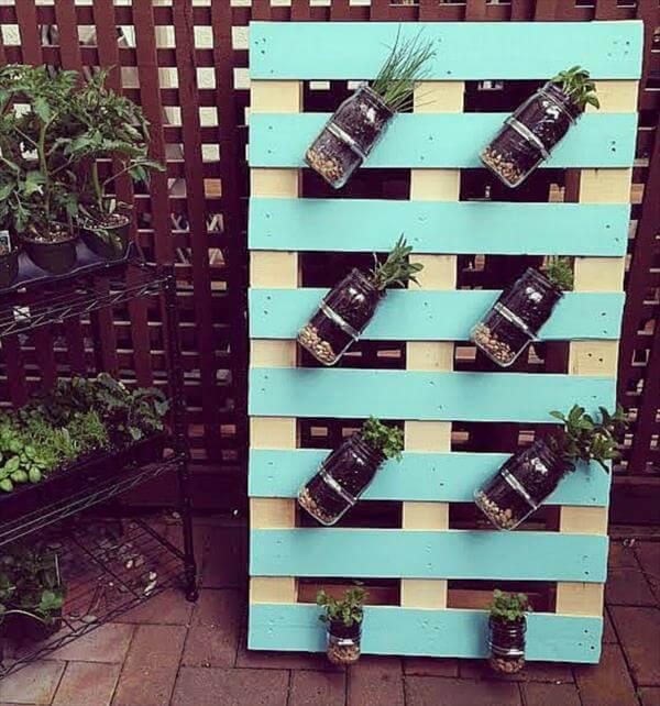 diy pallet mason jar herb garden