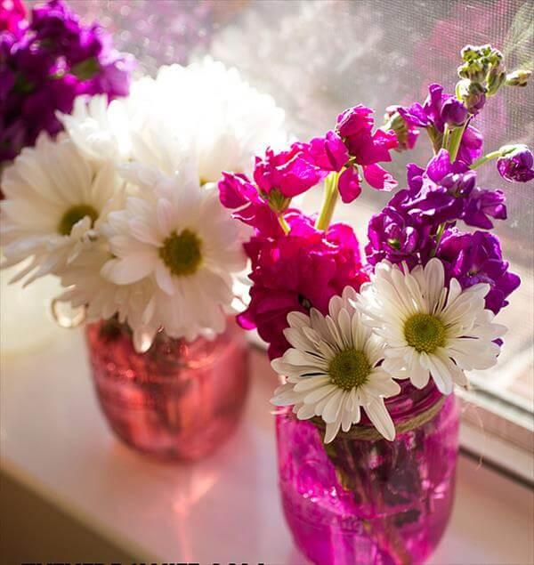 hand painted mason jar flower vases