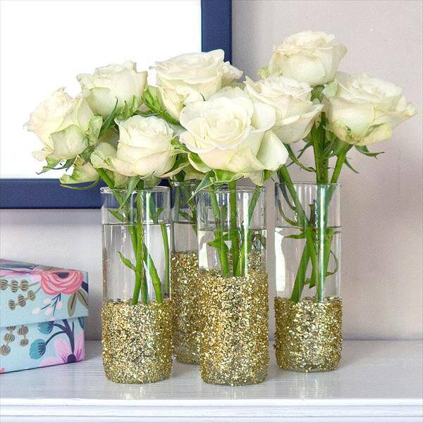 handcrafted semi glittered vases