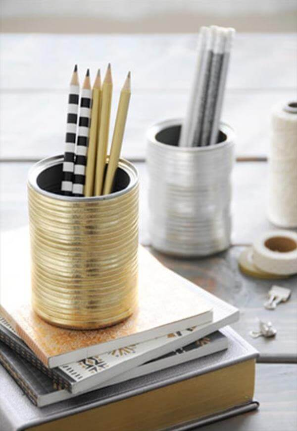 tine can vases and pencil holders diy