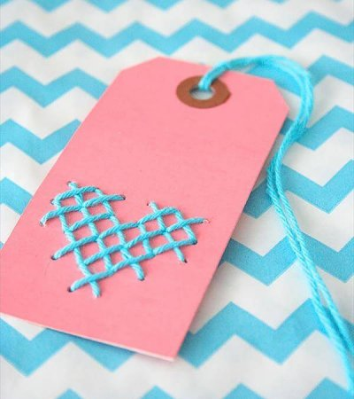 cross stitched twin gift tag