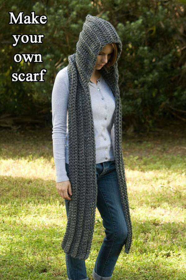diy crochet hooded scarf