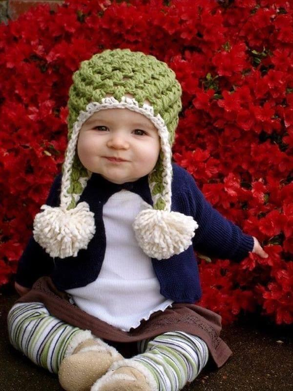 handcrafted crochet pom pom baby hat