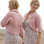 pink women crochet shrug