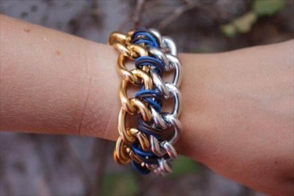 diy doubled chain bracelet