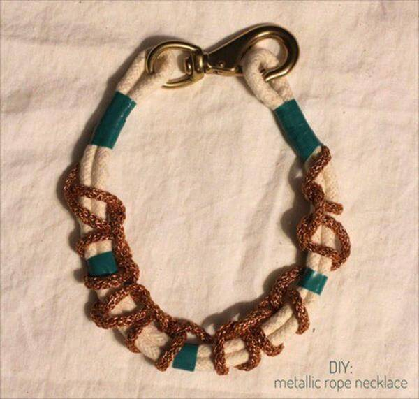 creative metal and rope necklace