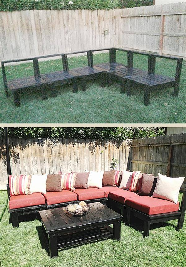 diy sturdy pallet outdoor sectional sitting plan