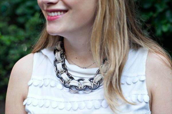handmade rope and metal ring necklace