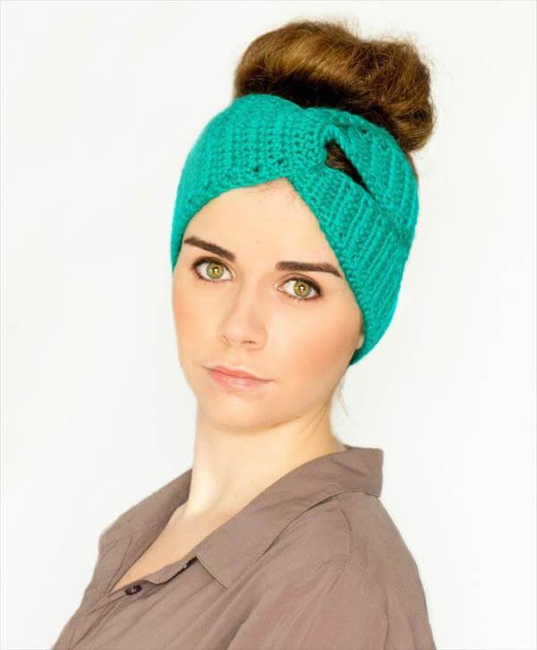 diy twisted crochet turban headband