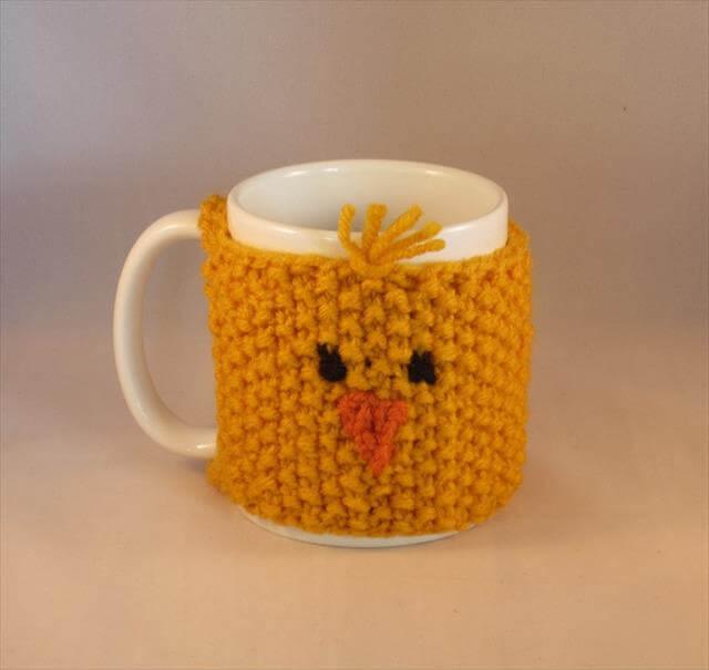 Knit Mug Cozy Chicken design Gift