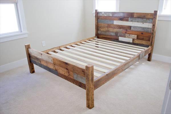 diy pallet bed frame plan