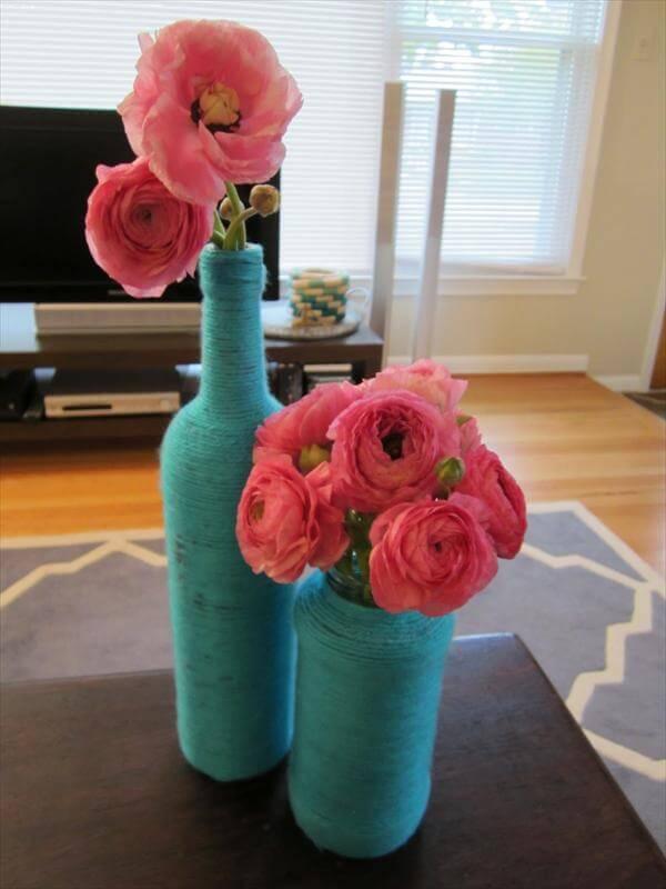 diy yarn wine bottle
