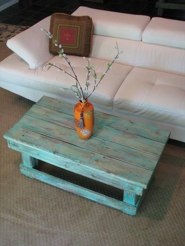 aqua pallet coffee table