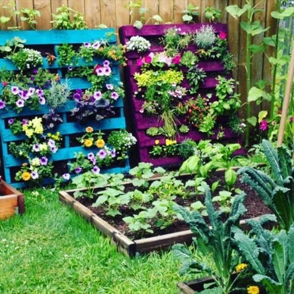 different colors pallet flower planters