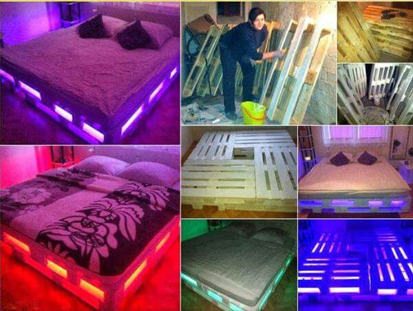 different pallet bed with lights