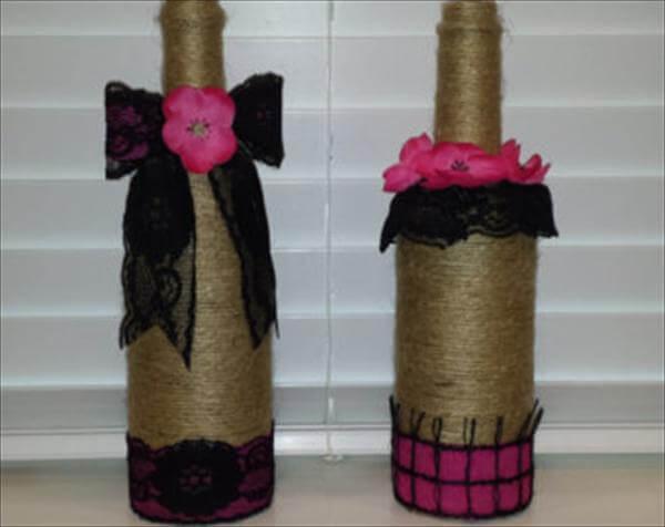 diy twine wrapped bottle