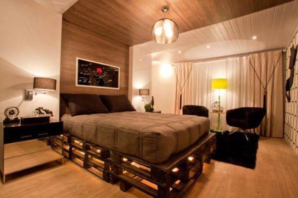 diy lighting pallet bed