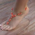 flaming coral bare foot sandal