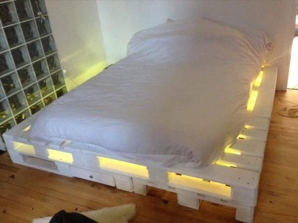 white lighting pallet bed