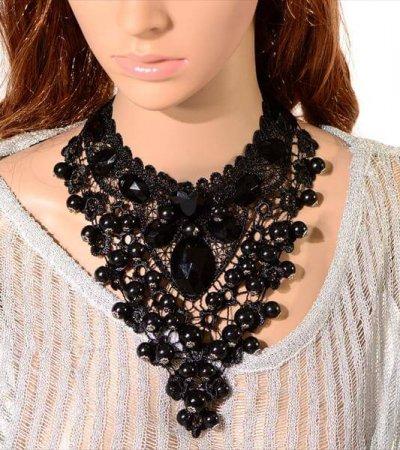 diy black color beautiful necklace
