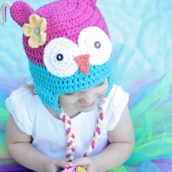 diy crochet owl hat