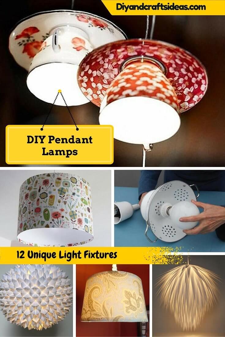 12 Diy Pendant Lamp Ideas Light Fixtures Diy Crafts