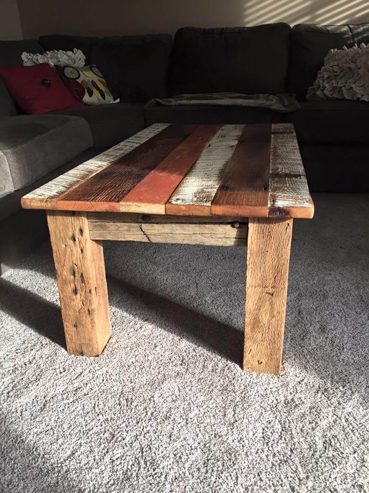 Repurposed barn wood coffee table