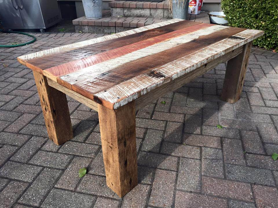 Multi- stained barn wood coffee table