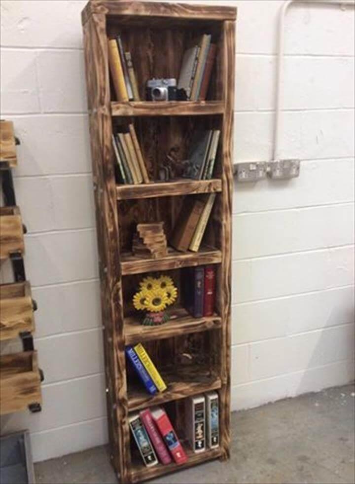 Wooden pallet book shelf