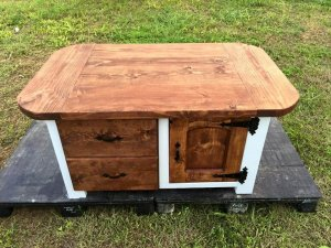 Coffee Table with Drawers and Cabinet