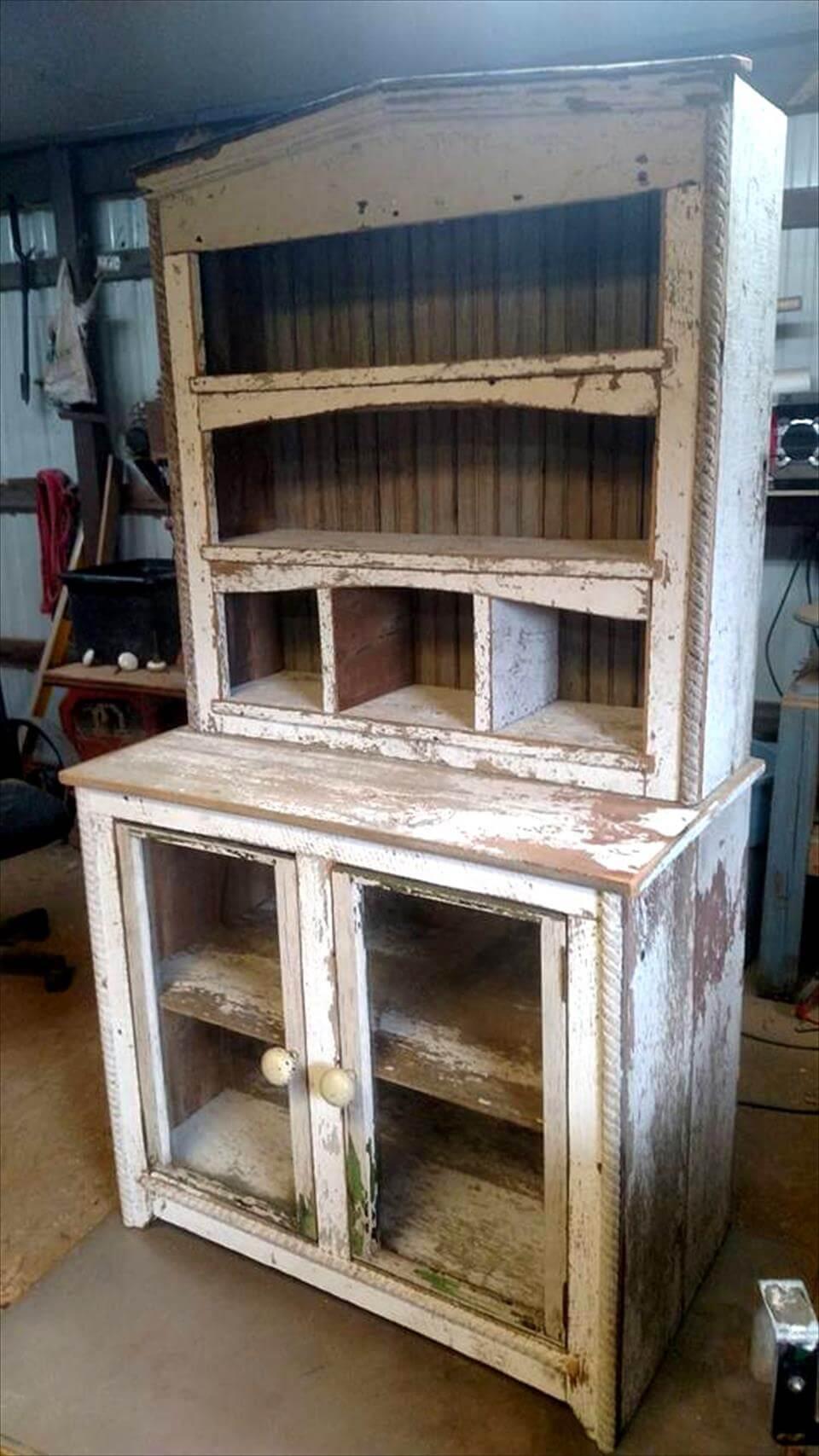 rustic wooden hutch