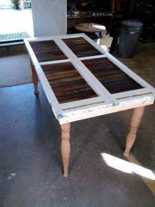DIY Reclaimed Deck Table with Old window Top