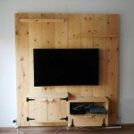 Up cycled wooden media wall