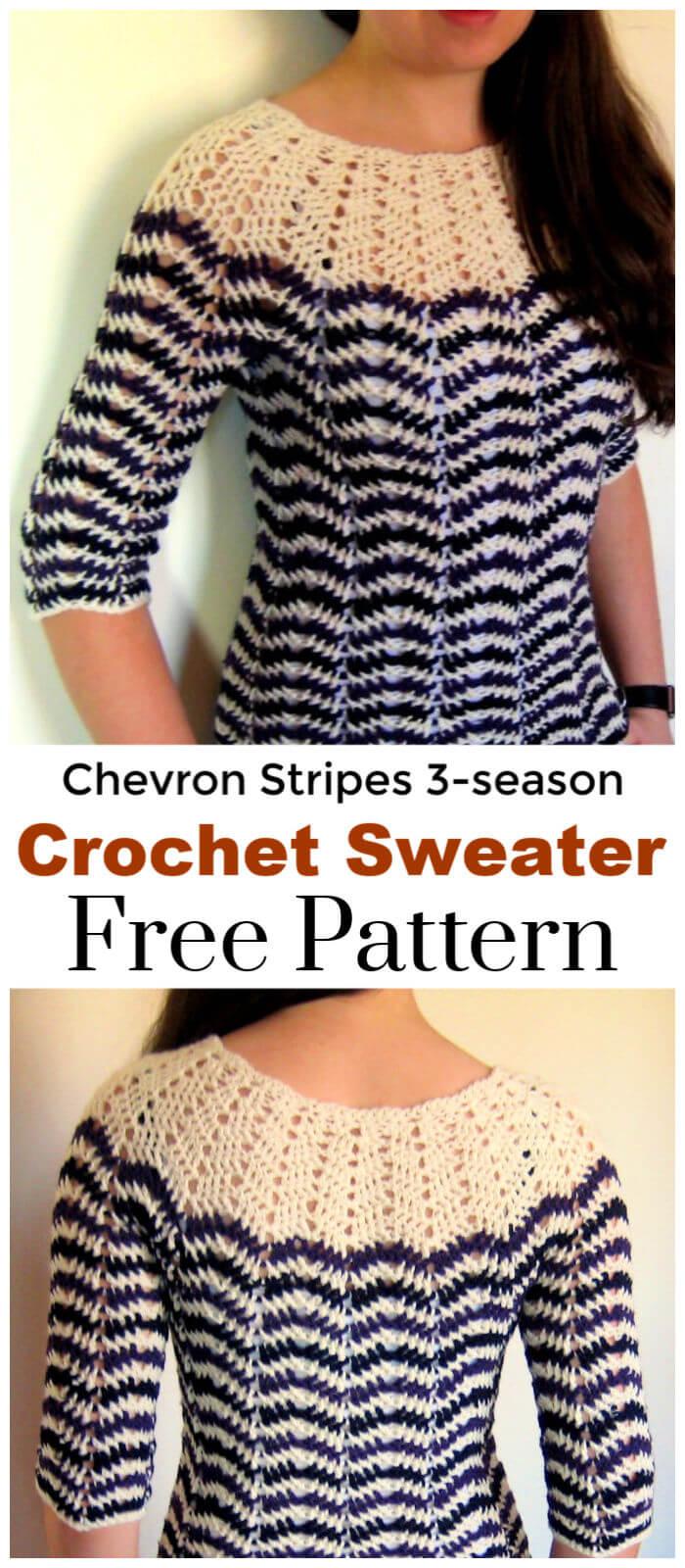Chevron Stripes 3 season Sweater Free Crochet Pattern